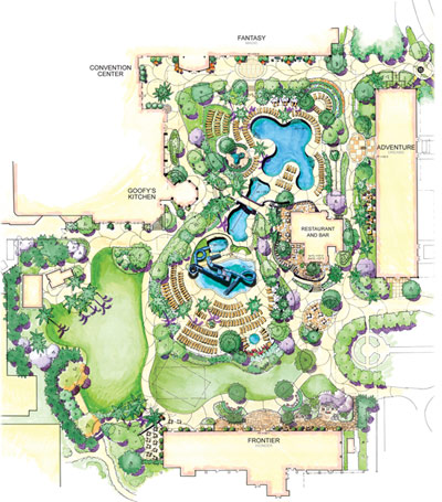 Concept Art For The New Disneyland Hotel Pool Area